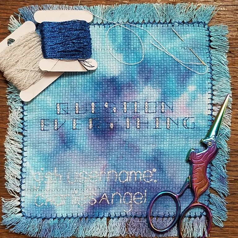 This year, @gish challenged us to reflect a bit and uncover what we are grateful about within ourselves, and then to illustrate that thing. I chose to stitch Question Everything on fabric I dyed, a technique I recently learned, with a hem stitch that I've not done before with metallic floss. The quote sums up my general approach to new situations that I am grateful I've learned, and the method of expression shows my creativity, which I will always be grateful for. #ThanksGISHing @kukellyann